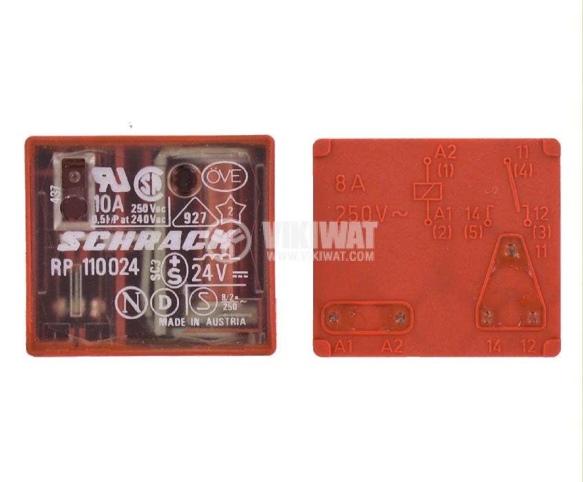 Електромагнитно универсално реле, RP 110024, 24VDC  250VAC/8A SPDT - NO+NC - 1