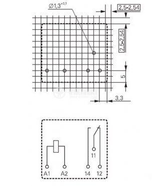 Електромагнитно универсално реле, RP 110024, 24VDC  250VAC/8A SPDT - NO+NC - 2
