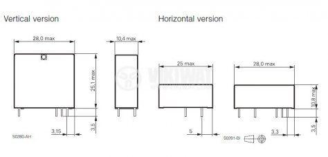 Електромагнитно универсално реле, RP 110024, 24VDC  250VAC/8A SPDT - NO+NC - 3