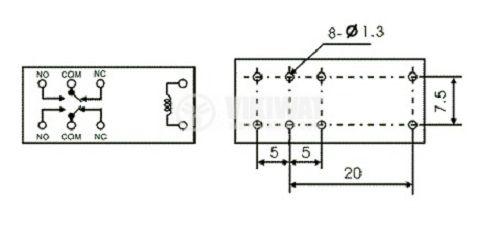 Реле електромагнитно, JQX-115F, 24VDC 250VAC/8A DPDT 2NO+2NC - 2