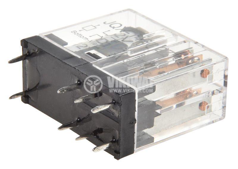 Реле електромагнитно JQX-14FC2Z, бобина 12VDC, 250VAC/5A, DPDT 2NO+2NC - 3