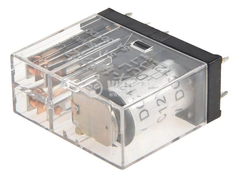Реле електромагнитно JQX-14FC2Z, бобина 12VDC, 250VAC/5A, DPDT 2NO+2NC - 4