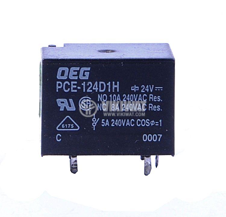 Реле електромагнитно, PCE-124D1H, 24VDC 240VAC/10A  SPDT-NO+NC - 1