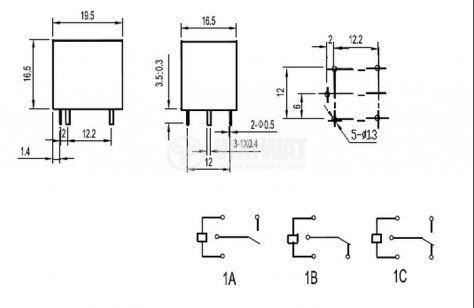 Реле електромагнитно, NT73-2C-15, 6VDC 125VAC/15A  SPDT-NO+NC - 2