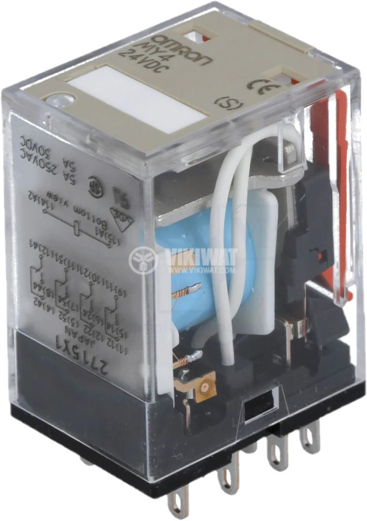 Реле електромагнитно MY4 24VDC (S) бобина 24V 5A 220VAC 4PDT 4xNO+4xNC
