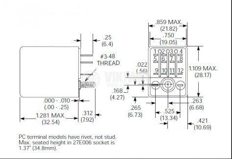 Реле електромагнитно KH-6103 бобина 24VDC 250VAC/3A 4PDT - 4NO+4NC - 3