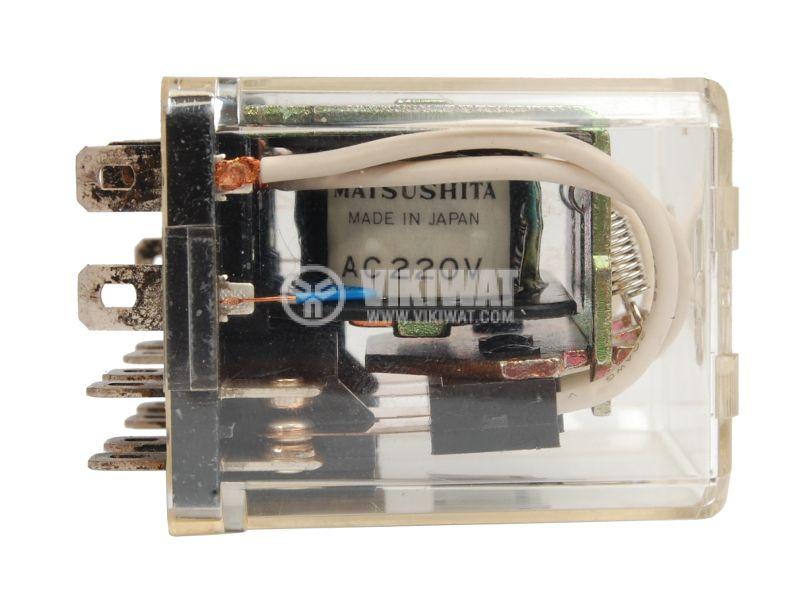 Реле електромагнитно универсално, AW5148, 220VAC 250VAC/10A  4PDT-4NO+4NC - 3