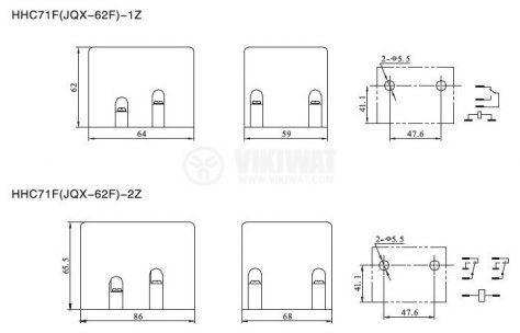 Реле електромагнитно силово бобина 220VАC 250VAC/100A SPDT NO+NC  JQX-62F - 2