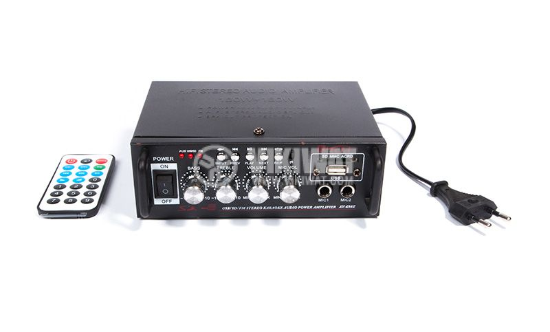 Amplifier AV-698E, 180+180W, karaoke, USB port, SD slot, FM tuner - 1
