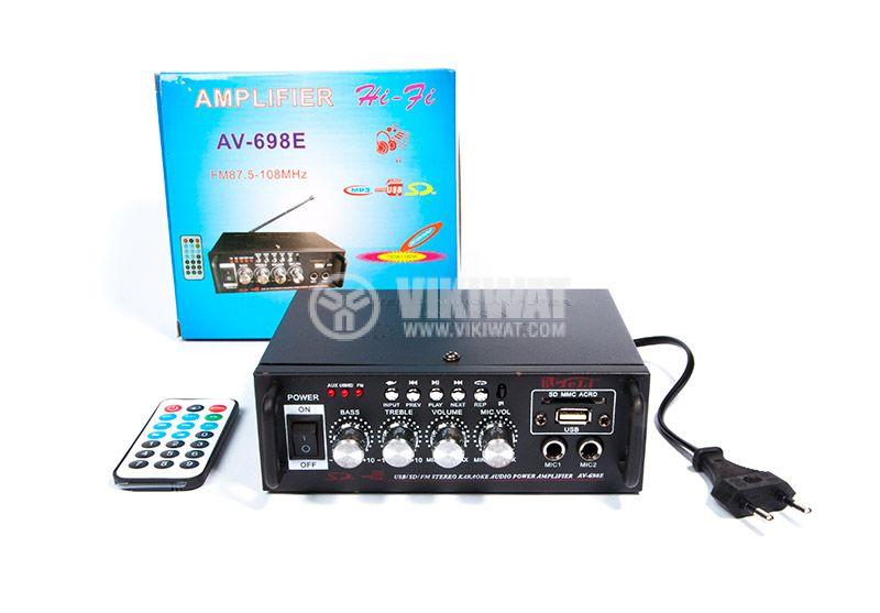 Amplifier AV-698E, 180+180W, karaoke, USB port, SD slot, FM tuner - 5