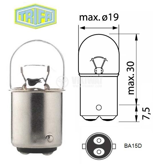 Automobile incandescent bulb, 24 VDC, 5 W, BA15D