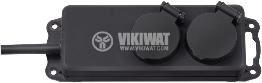 2-way power outlet, Brennenstuhl, Power, 3x1.5mm2, 2m, IP44, waterproof, black, 1159930 - 1