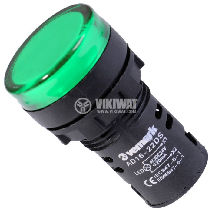 Индикаторна лампа LED, AD16-22DS, 24 VAC/VDC, зелена - 1