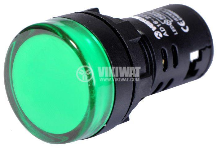 Индикаторна лампа LED, AD16-22DS, 24 VAC/VDC, зелена - 2