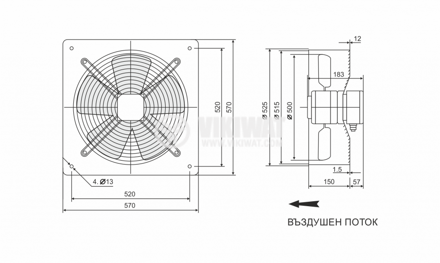 Fan FDA-4D-500B, industrial, axial, 500mm, 8700m3/h, 320W, 380VAC - 5