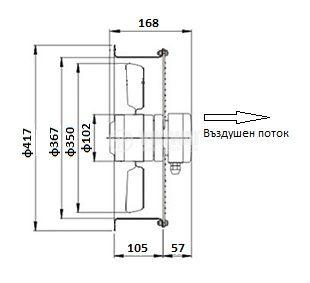 Axial duct fan VS-2E-350, 220VAC - 3