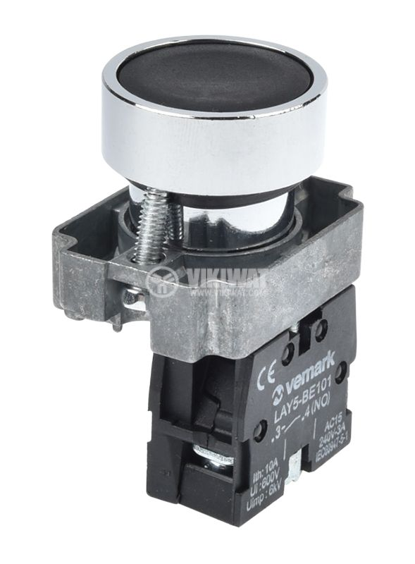 Панелен превключвател, бутон, ф22mm, 10A/240VAC, 2 позиции, SPST - 1