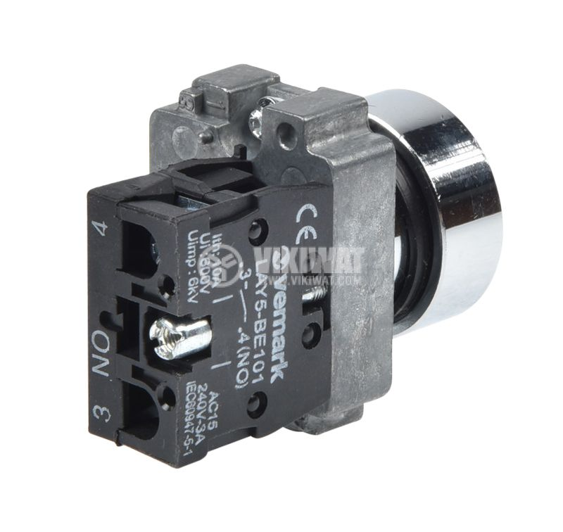 Панелен превключвател, бутон, ф22mm, 10A/240VAC, 2 позиции, SPST - 2