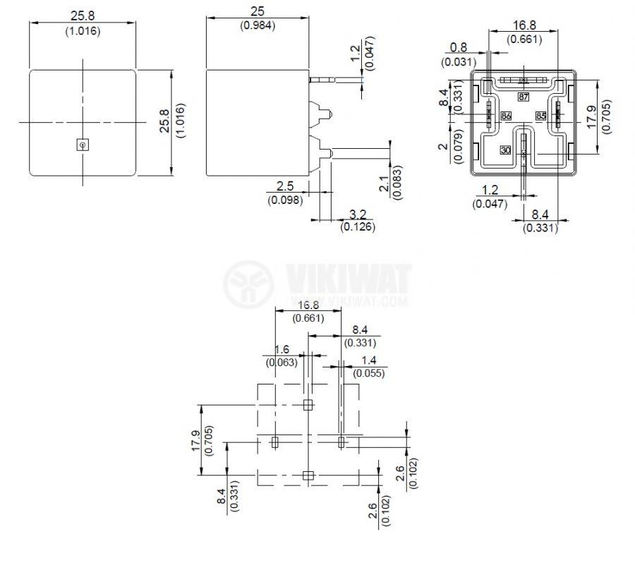 Реле, автомобилно, електромагнитно 897P-1AH-S, 24VDC, SPNO, 25A - 3
