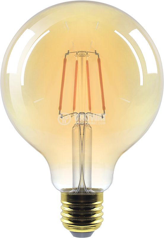 LED FILAMENT bulb, Dimmable, 6W, E27, 220VAC, 515lm, 2200K, warm white, candle type, BB47-60620 - 1
