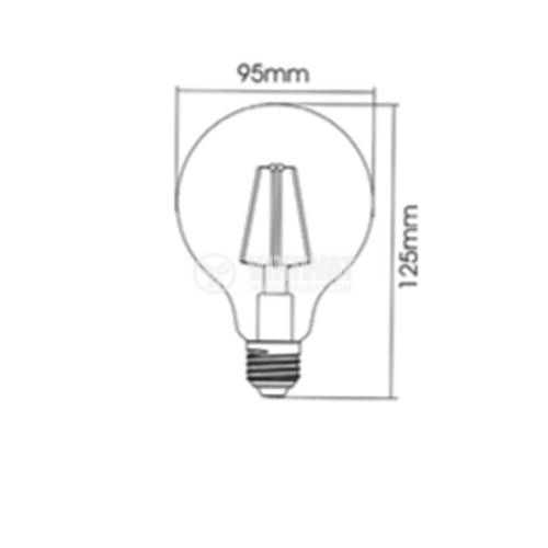 LED FILAMENT bulb, Dimmable, 6W, E27, 220VAC, 515lm, 2200K, warm white, candle type, BB47-60620 - 2