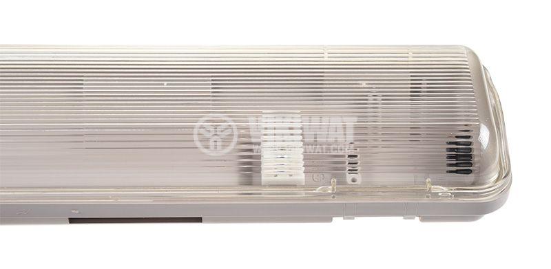 Влагозащитено LED тяло AQUALINE, 2x18W, T8, 220VAC, IP65, 1200mm, едностранно, BT05-21280 - 2