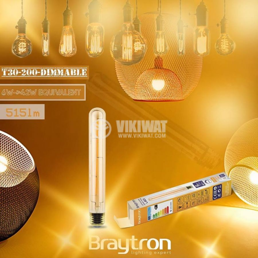 LED FILAMENT bulb T30-200, 6W, E27, 220VAC, 515lm, 2200K, warm white, cylinder, amber, BB62-60620, dimmable - 3