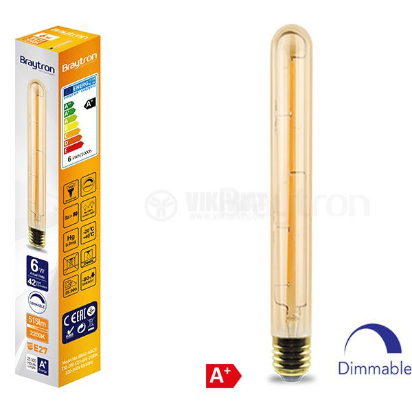 LED FILAMENT bulb T30-200, 6W, E27, 220VAC, 515lm, 2200K, warm white, cylinder, amber, BB62-60620, dimmable - 6