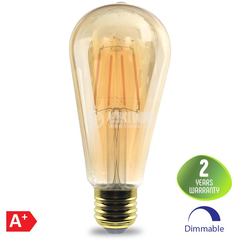 LED FILAMENT bulb 6W, E27, ST64, 220VAC, 515lm, 2200K, warm white, amber, BB46-60620, dimmable - 1