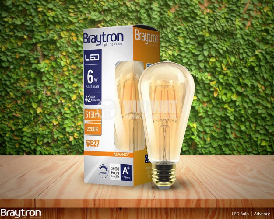LED FILAMENT bulb 6W, E27, ST64, 220VAC, 515lm, 2200K, warm white, amber, BB46-60620, dimmable - 4