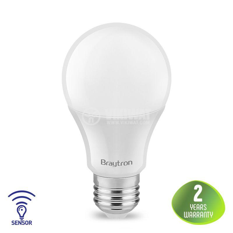 LED bulb with sensor, 7W, E27, A60, 220VAC, 470lm, 6500K, cool white. BA14-50723 - 1