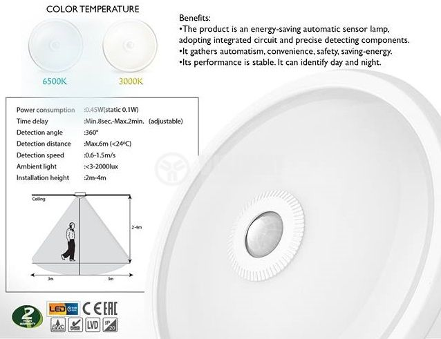 LED ceiling lamp ML300 with sensor, 15W, 220VAC, 900lm, 3000K, warm white, IP20, non-waterproof, BC15-00300 - 4