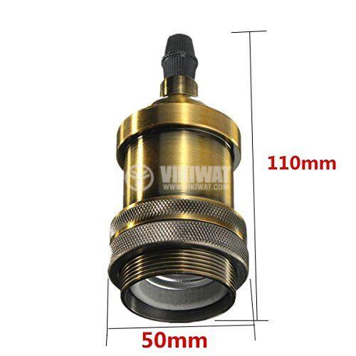 Pendant lamp holder E27, PENDA, copper color, 1m, BY45-00201 - 4