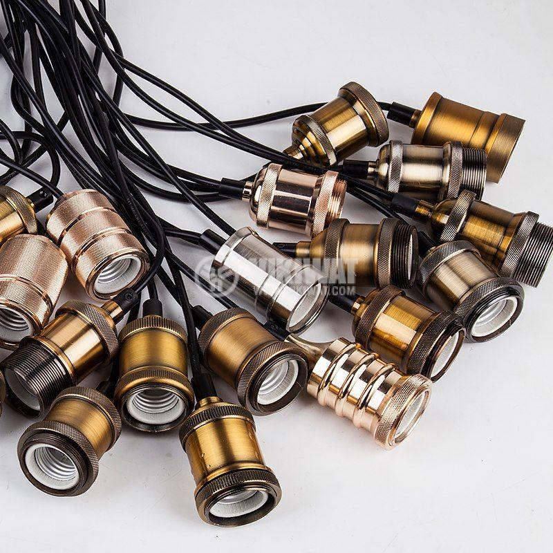 Pendant lamp holder E27, PENDA, copper color, 1m, BY45-00201 - 5