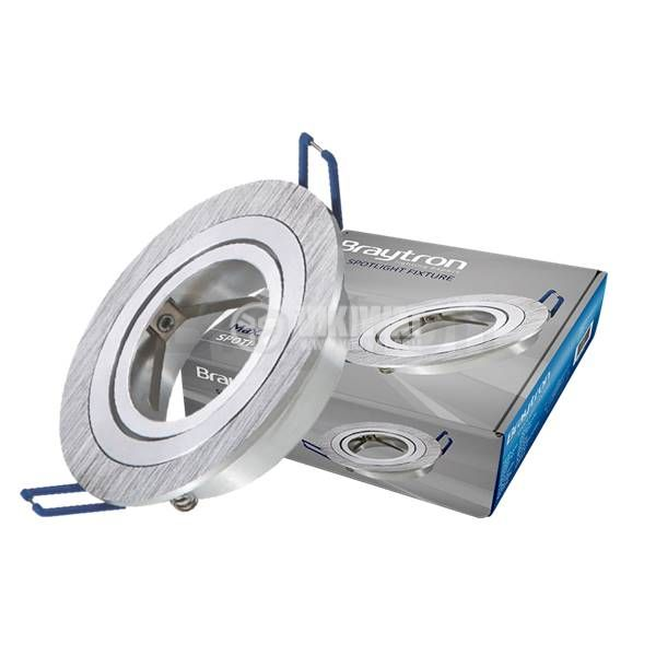 Spotlight fixture SPOTTI-S, round, GU5.3/GU10, silver, BH03-00163, flexible - 1