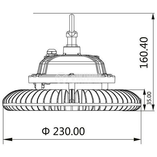 Промишлено LED тяло HIBAY, 100W, 220-240VAC, 10000lm, 6000K, IP65, влагозащитено, BT45-19132 - 5