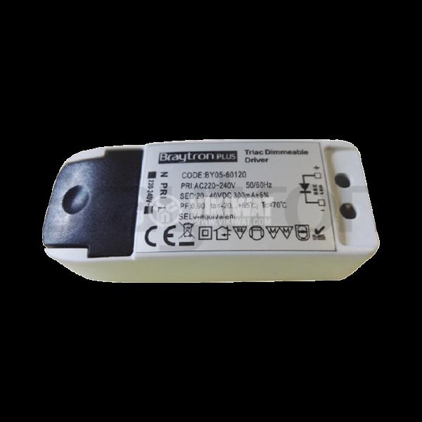 LED захранване Dimmable Driver, входно напрежение 220-240VAC, изходно напрежение 20-40VDC, BY05-60120, димируем - 2