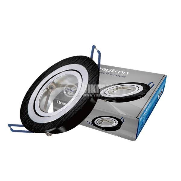 Spotlight fixture SPOTTI-S, black-silver, GU5.3/GU10, round, BH03-00161 - 1