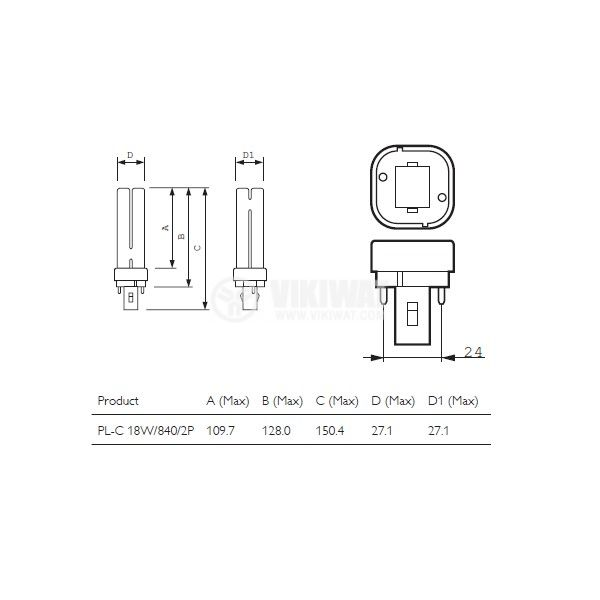 Compact fluorescent lamp 18W 220VAC - 2