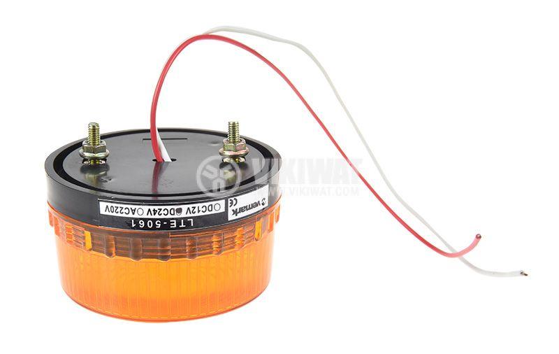 Сигнална мини LED лампа, жълта, 24VDC, 2W, LTE-5061, строб - 2
