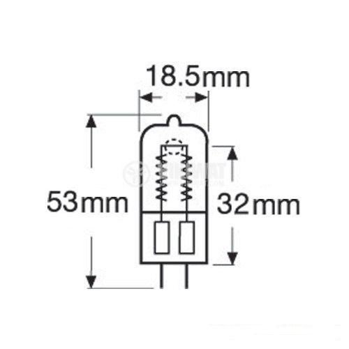 Халогенна ампула, 300 W, 230 VAC, GX6.35 - 2