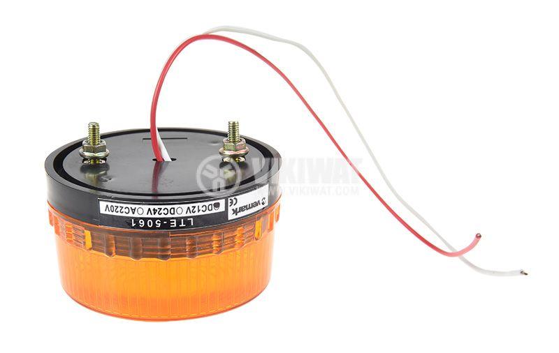 Сигнална мини LED лампа жълта 12VDC 2W LTE-5061, строб - 2