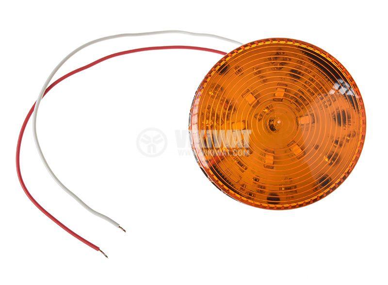 Сигнална мини LED лампа жълта 12VDC 2W LTE-5061, строб - 3