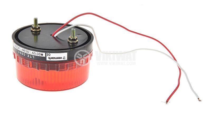 Сигнална мини LED лампа червена, 24VDC, 2W LTE-5061, строб - 2