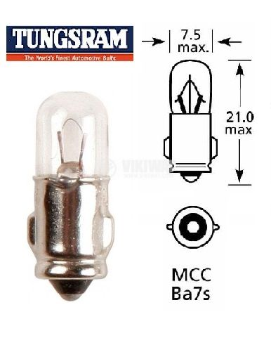 Автомобилна лампа, 6VDC, 1.2W, BA7S
