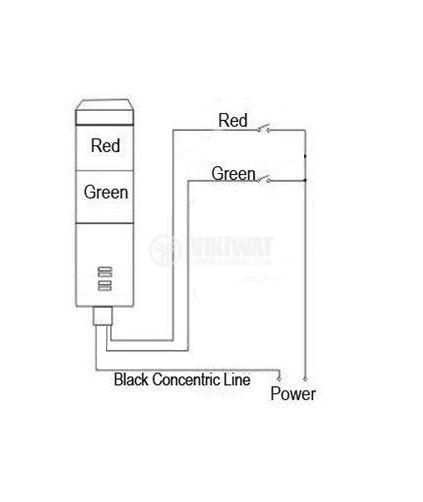Сигнална колона, LTA205-2Т, 24 VDC, 5 W, червен/зелен цвят - 2