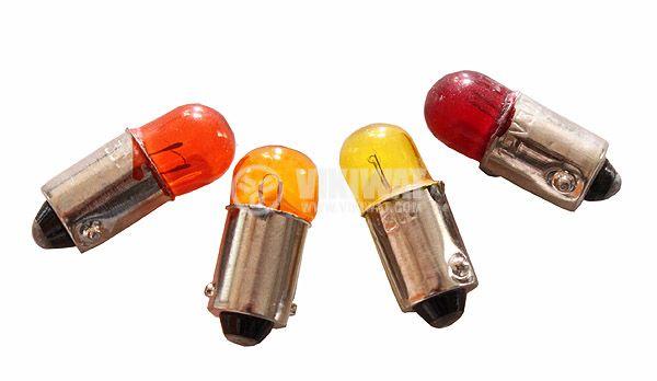 Автомобилна лампа, 12VDC, 3W, BA9S, оранжева, червена, жълта - 1