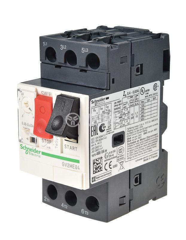Моторна термично-токова защита, GV2ME04, трифазна, 0.4~0.63A   - 1