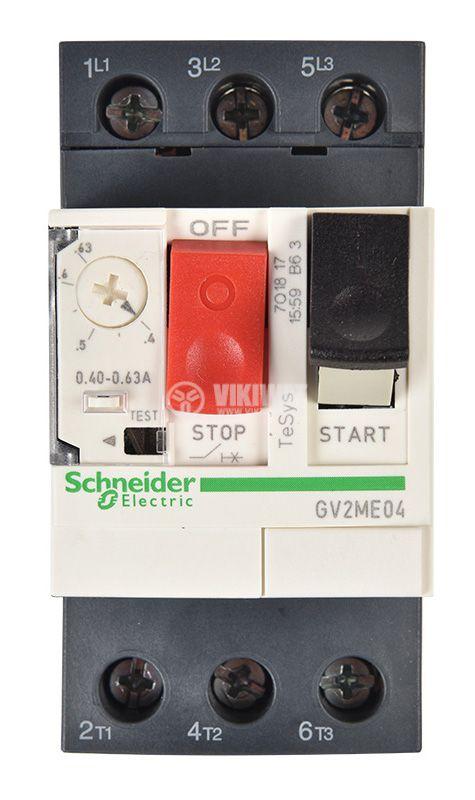 Моторна термично-токова защита, GV2ME04, трифазна, 0.4~0.63A   - 6