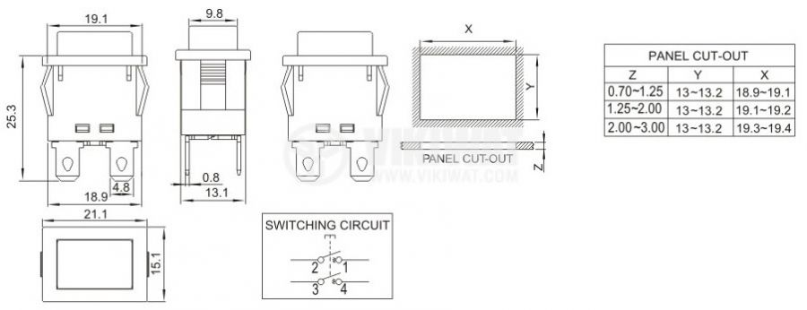 Button, PS102, 16A/250VAC, DPST NO, irretentive - 3